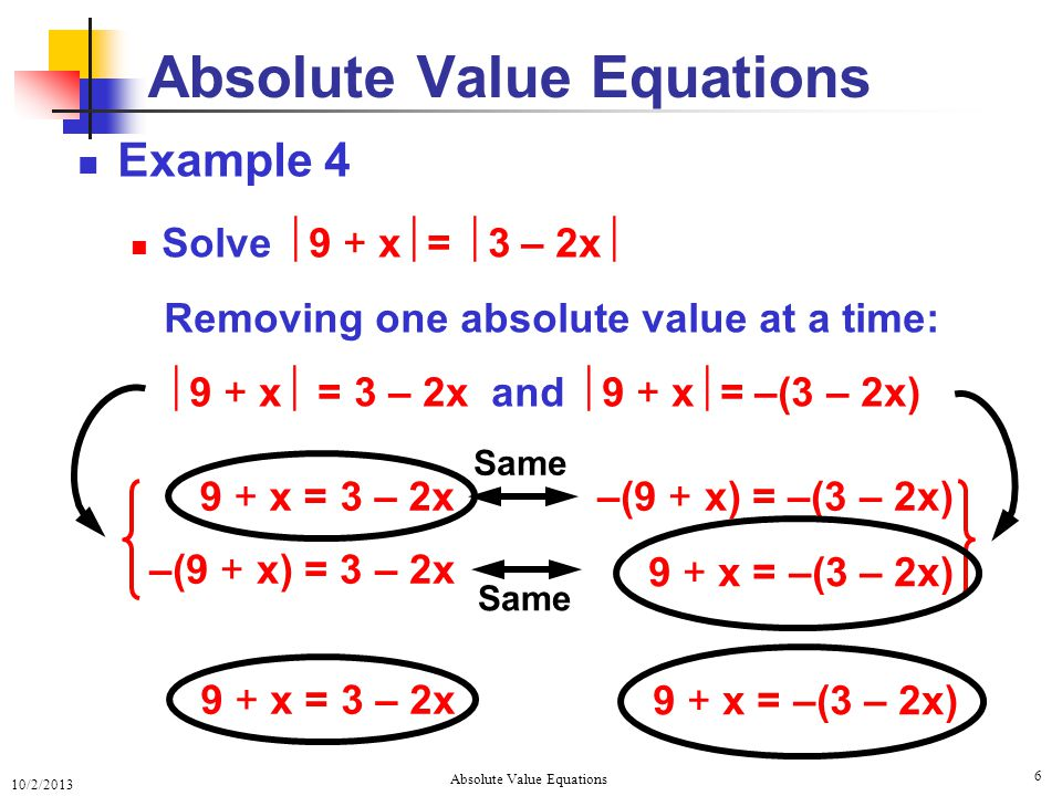10/2/2013 Absolute Value Equations 6 Example 4 Solve  9 + x  =  3 – 2x  Removing one absolute value at a time:  9 + x  = 3 – 2x and  9 + x  = –(3 – 2x) Absolute Value Equations –(9 + x) = –(3 – 2x)9 + x = 3 – 2x –(9 + x) = 3 – 2x 9 + x = –(3 – 2x) Same 9 + x = 3 – 2x 9 + x = –(3 – 2x)