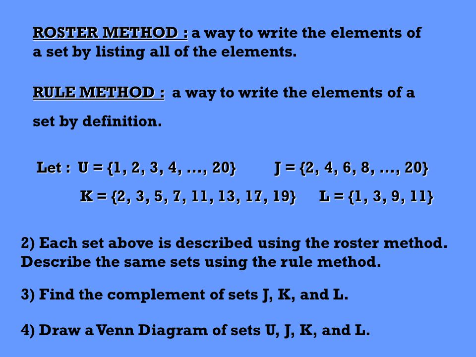 ROSTER METHOD : ROSTER METHOD : a way to write the elements of a set by listing all of the elements.