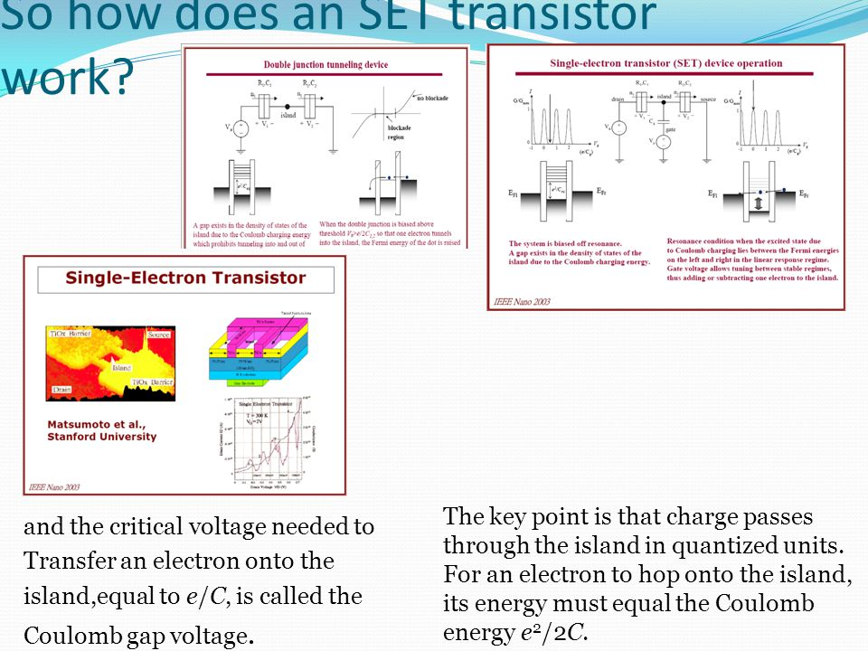 So how does an SET transistor work? and the critical voltage needed to Transfer an electron onto the island,equal to e/C, is called the Coulomb gap vo