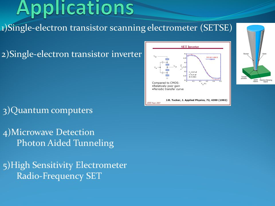 1)Single-electron transistor scanning electrometer (SETSE) 2)Single-electron transistor inverter 3)Quantum computers 4)Microwave Detection Photon Aide