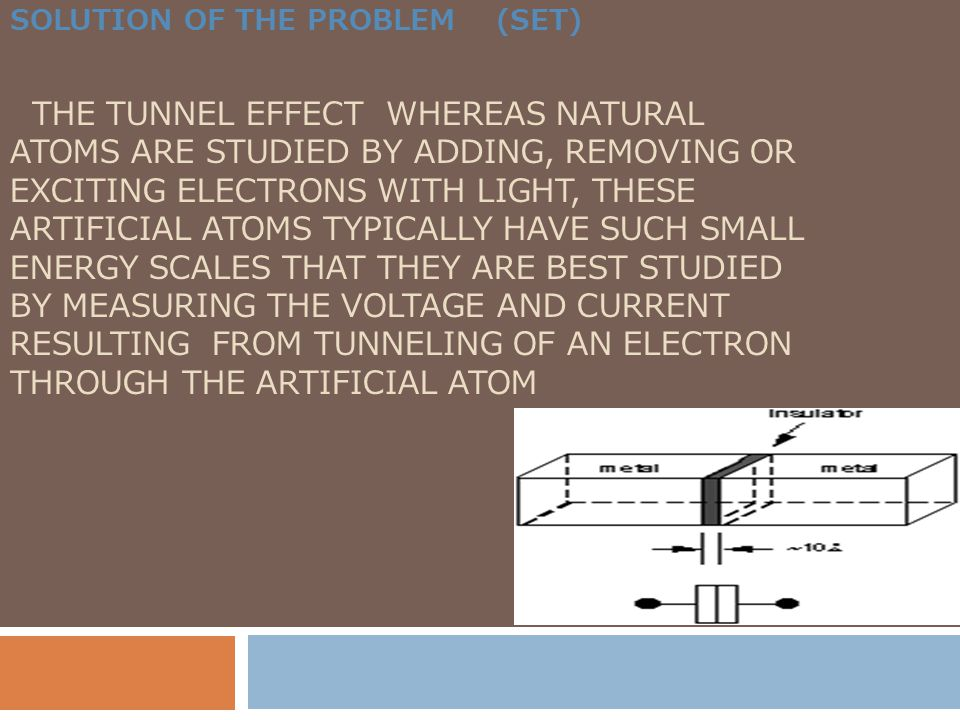 SOLUTION OF THE PROBLEM (SET) THE TUNNEL EFFECT WHEREAS NATURAL ATOMS ARE STUDIED BY ADDING, REMOVING OR EXCITING ELECTRONS WITH LIGHT, THESE ARTIFICI
