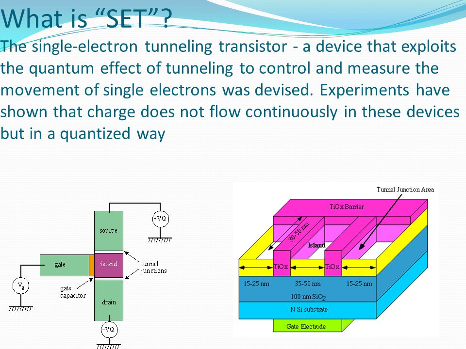 """What is """"SET""""? The single-electron tunneling transistor - a device that exploits the quantum effect of tunneling to control and measure the movement o"""