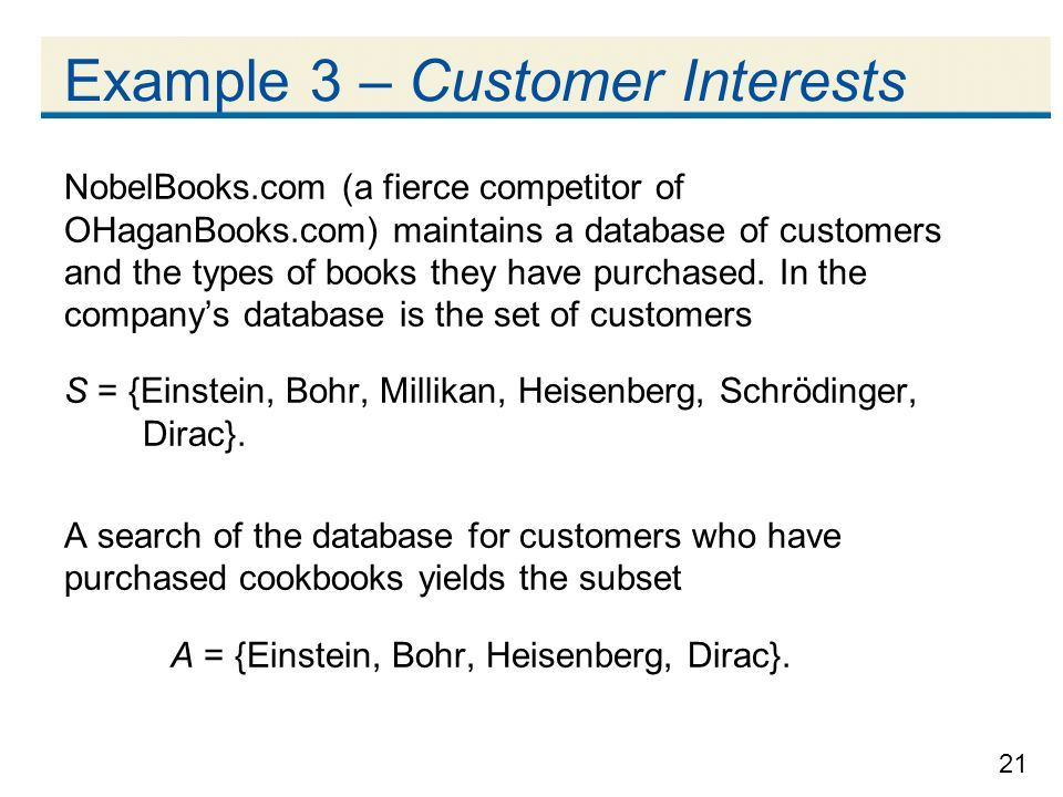 21 Example 3 – Customer Interests NobelBooks.com (a fierce competitor of OHaganBooks.com) maintains a database of customers and the types of books they have purchased.