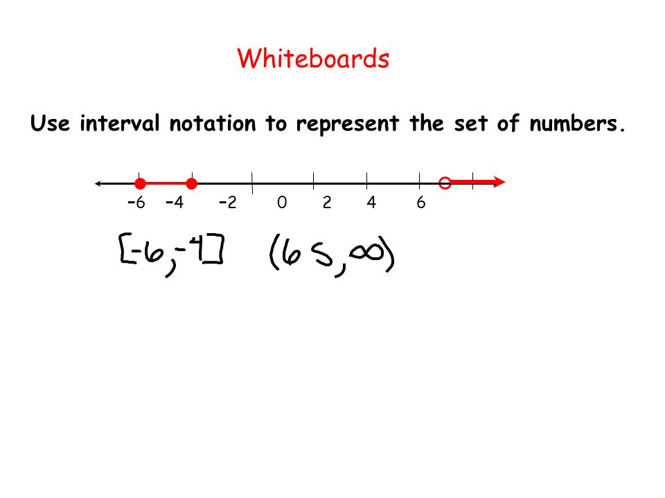 – 6 – 4 – 2 0 2 4 6 Use interval notation to represent the set of numbers. Whiteboards