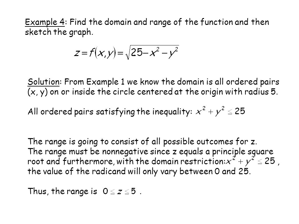 Example 4: Find the domain and range of the function and then sketch the graph. Solution: From Example 1 we know the domain is all ordered pairs (x, y