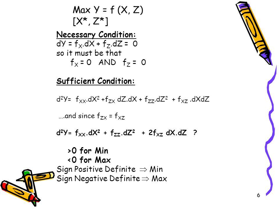 6 Max Y = f (X, Z) [X*, Z*] Necessary Condition: dY = f X.dX + f Z.dZ = 0 so it must be that f X = 0 AND f Z = 0 Sufficient Condition: d 2 Y= f XX.dX 2 +f ZX dZ.dX + f ZZ.dZ 2 + f XZ.dXdZ ….and since f ZX = f XZ d 2 Y= f XX.dX 2 + f ZZ.dZ 2 + 2f XZ dX.dZ .