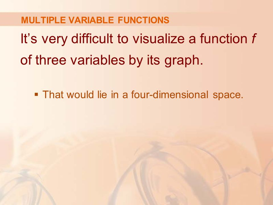 It's very difficult to visualize a function f of three variables by its graph.  That would lie in a four-dimensional space. MULTIPLE VARIABLE FUNCTIO
