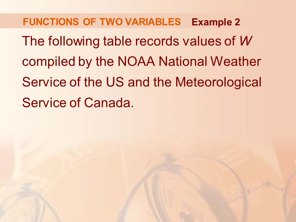 The following table records values of W compiled by the NOAA National Weather Service of the US and the Meteorological Service of Canada. FUNCTIONS OF