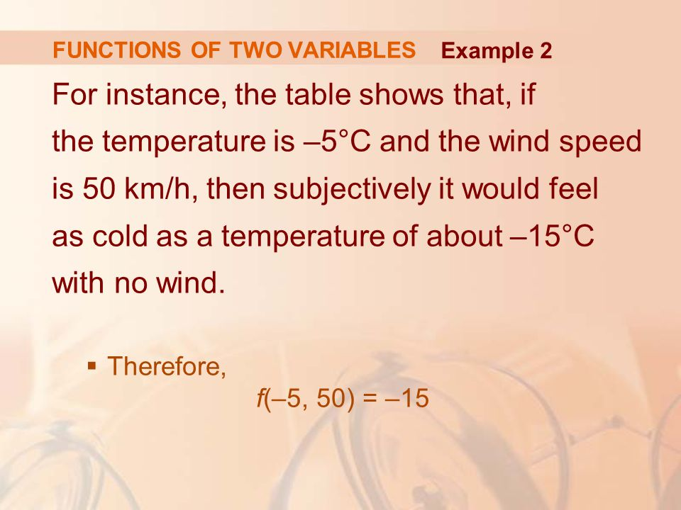 For instance, the table shows that, if the temperature is –5°C and the wind speed is 50 km/h, then subjectively it would feel as cold as a temperature