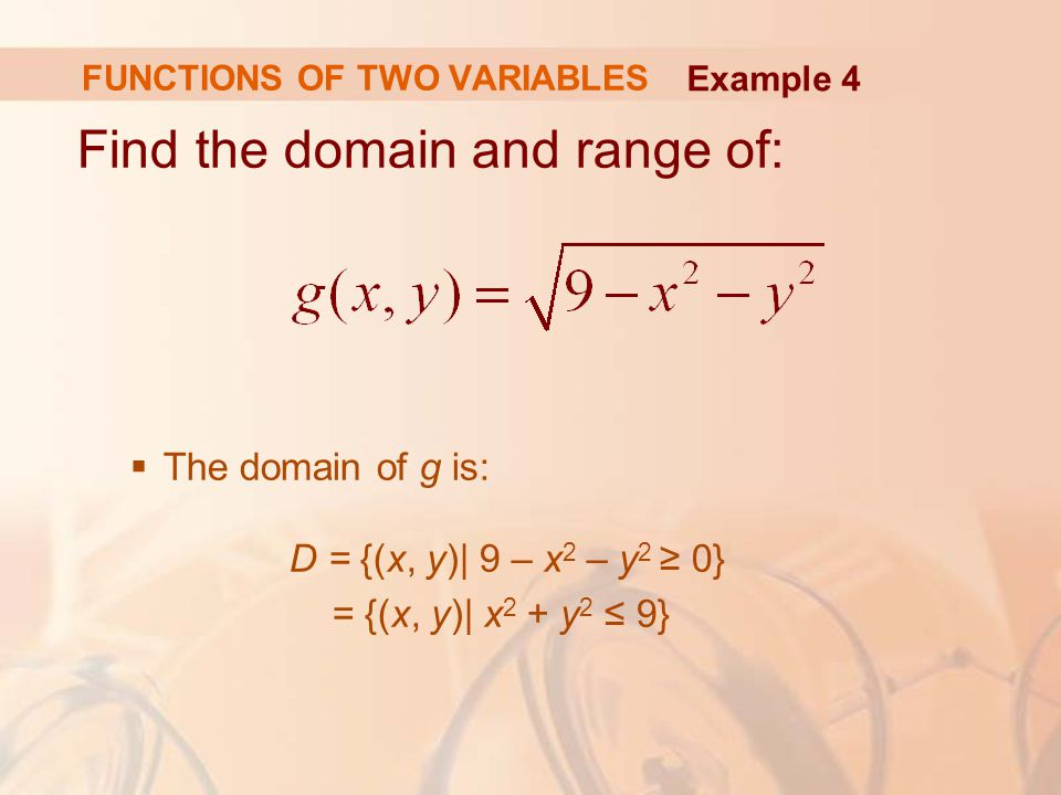 Find the domain and range of:  The domain of g is: D = {(x, y)| 9 – x 2 – y 2 ≥ 0} = {(x, y)| x 2 + y 2 ≤ 9} FUNCTIONS OF TWO VARIABLES Example 4