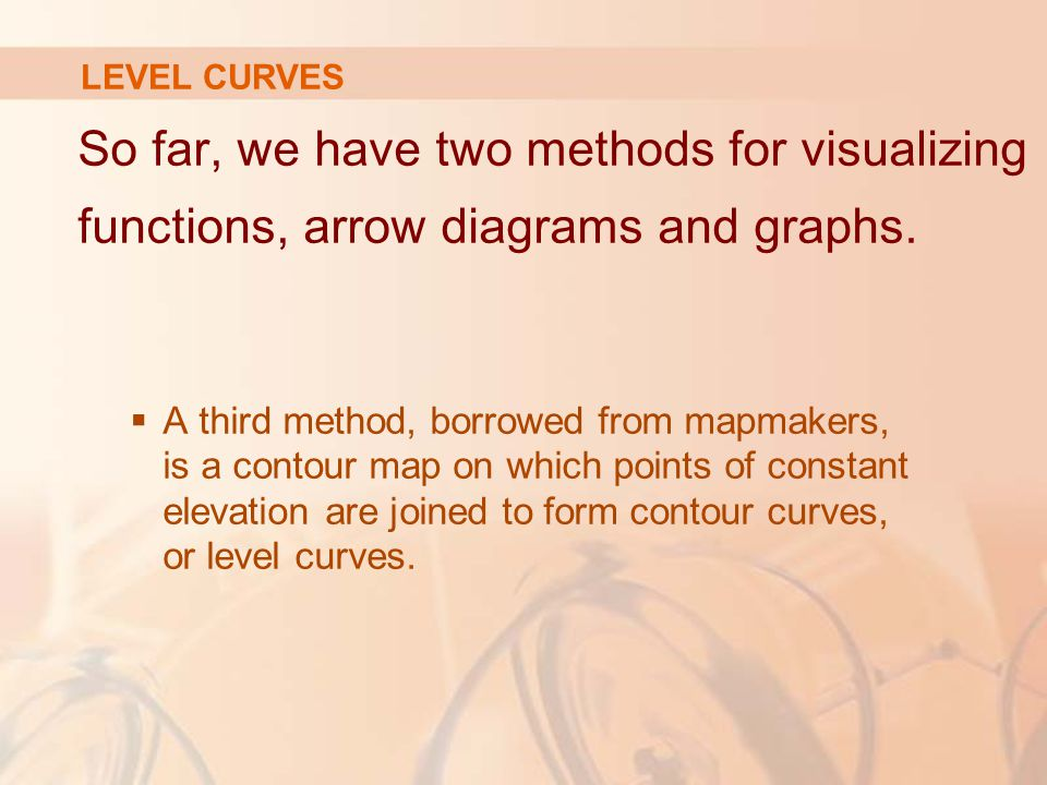 So far, we have two methods for visualizing functions, arrow diagrams and graphs.  A third method, borrowed from mapmakers, is a contour map on which