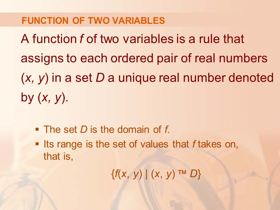 A function f of two variables is a rule that assigns to each ordered pair of real numbers (x, y) in a set D a unique real number denoted by (x, y). 