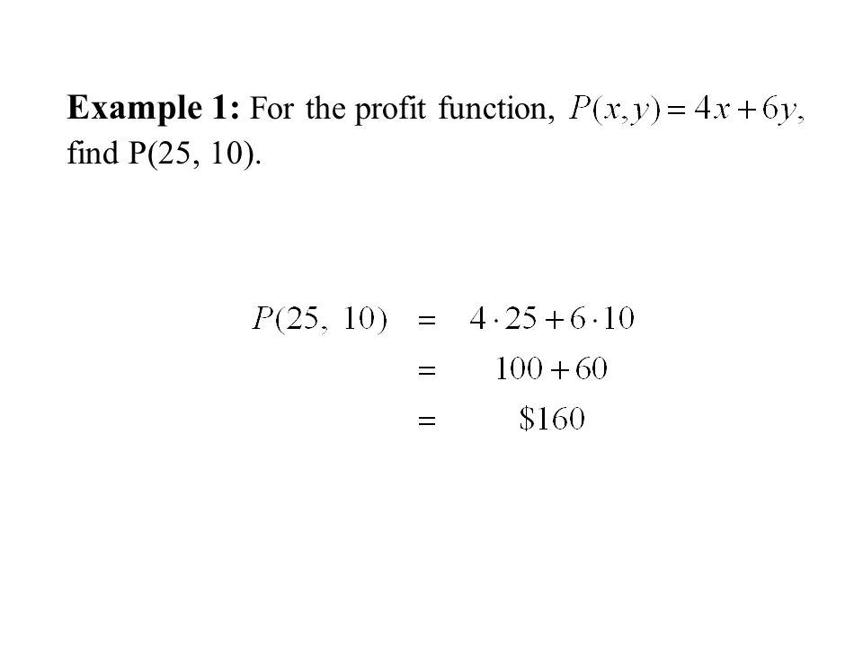 Example 1: For the profit function, find P(25, 10).