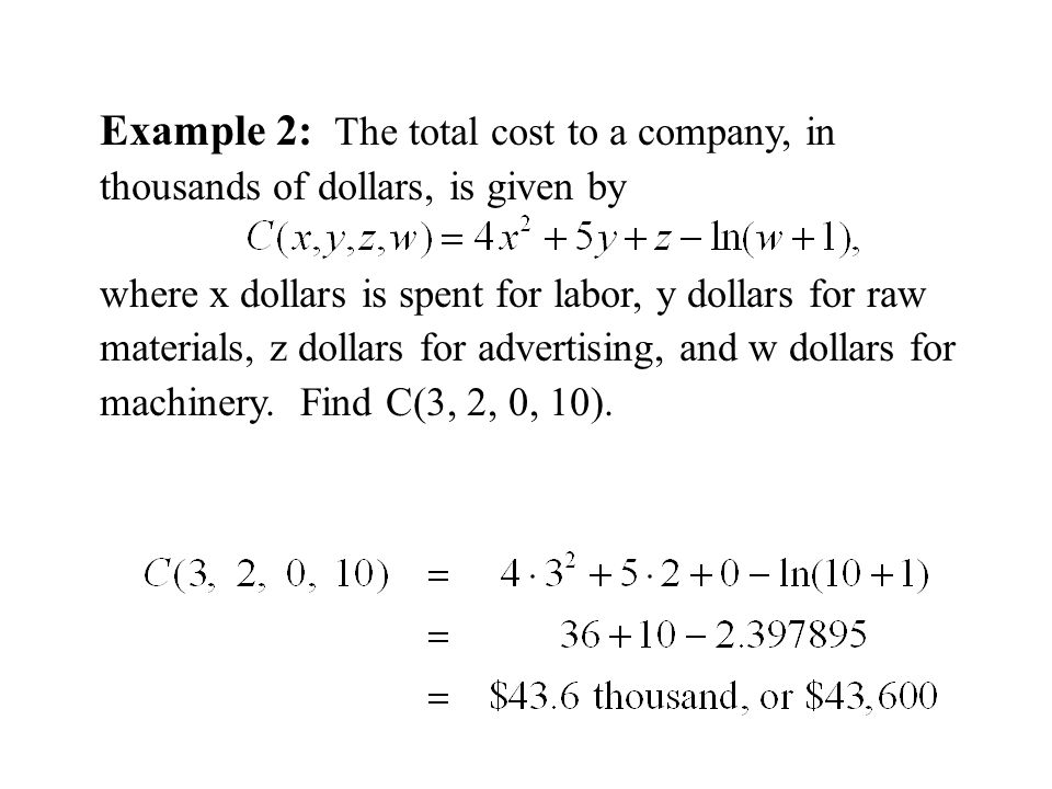 Example 2: The total cost to a company, in thousands of dollars, is given by where x dollars is spent for labor, y dollars for raw materials, z dollars for advertising, and w dollars for machinery.