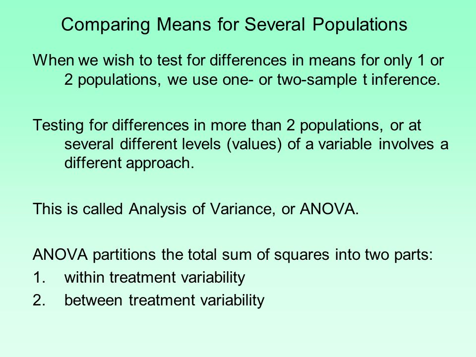 Comparing Means for Several Populations When we wish to test for differences in means for only 1 or 2 populations, we use one- or two-sample t inference.
