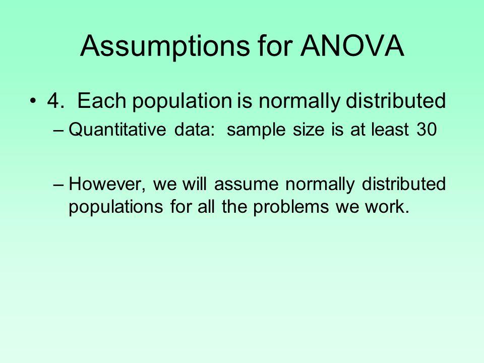 Assumptions for ANOVA 4.