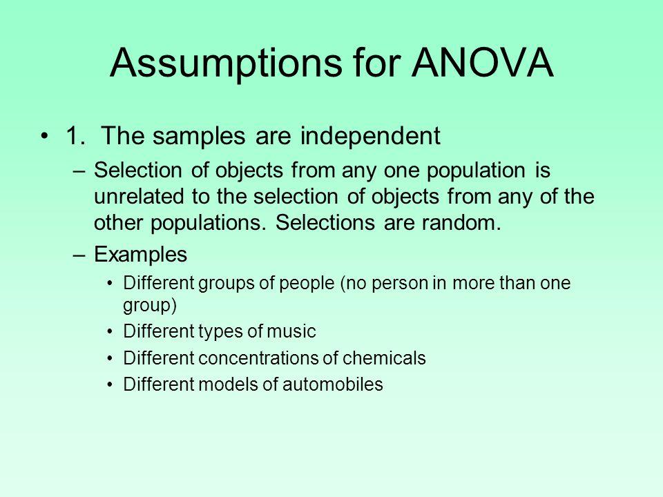 Assumptions for ANOVA 2.