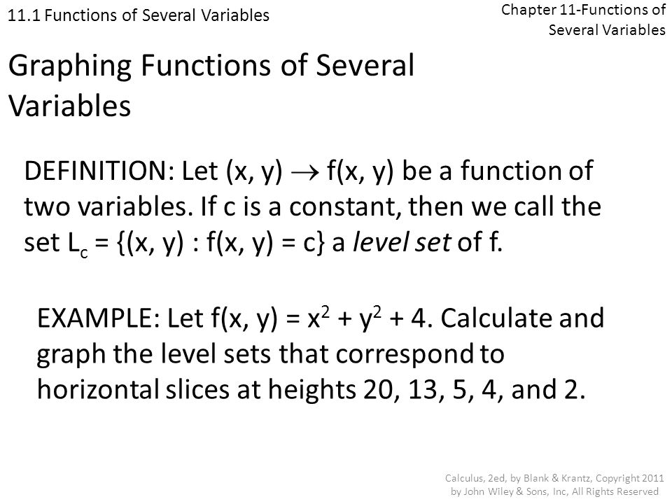Chapter 11-Functions of Several Variables 11.3 Limits and Continuity Calculus, 2ed, by Blank & Krantz, Copyright 2011 by John Wiley & Sons, Inc, All Rights Reserved Functions of Three Variables EXAMPLE: Show that V (x, y, z) = z 3 cos (xy 2 ) is a continuous function.