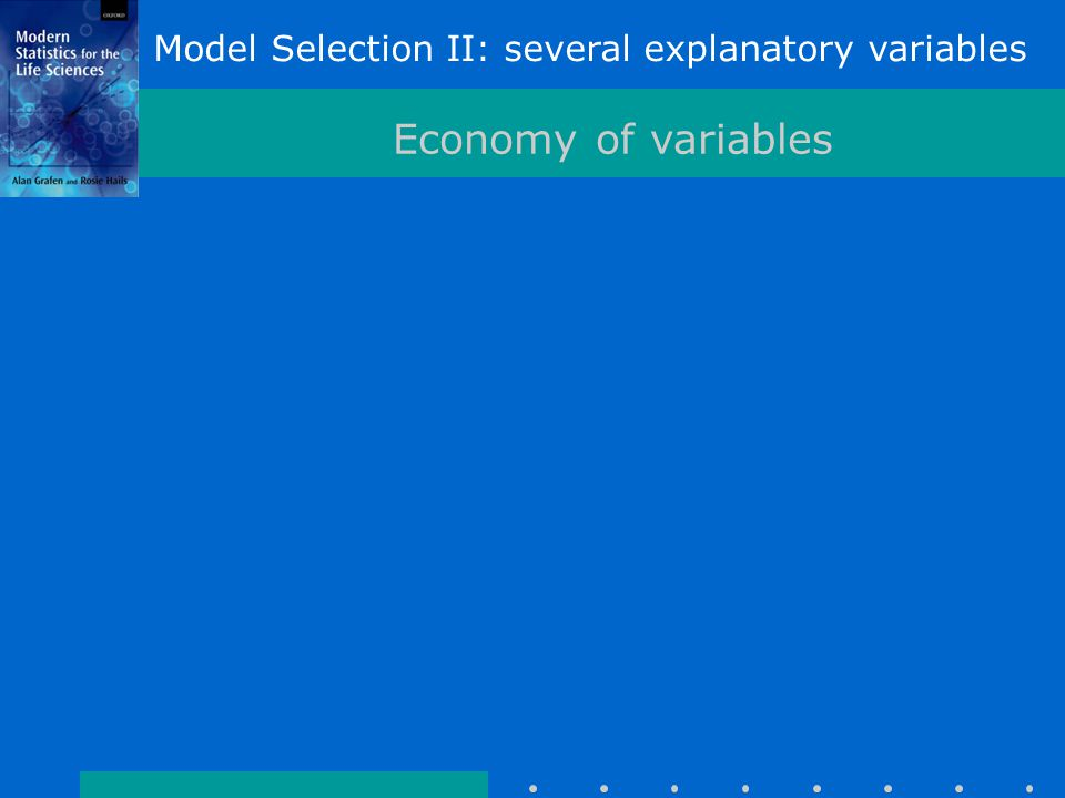 Model Selection II: several explanatory variables Economy of variables