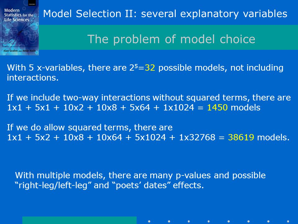 Model Selection II: several explanatory variables The problem of model choice With 5 x-variables, there are 2 5 =32 possible models, not including interactions.