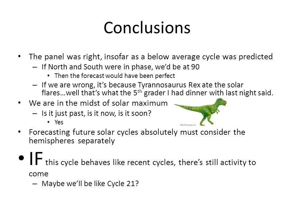 Conclusions The panel was right, insofar as a below average cycle was predicted – If North and South were in phase, we'd be at 90 Then the forecast would have been perfect – If we are wrong, it's because Tyrannosaurus Rex ate the solar flares…well that's what the 5 th grader I had dinner with last night said.