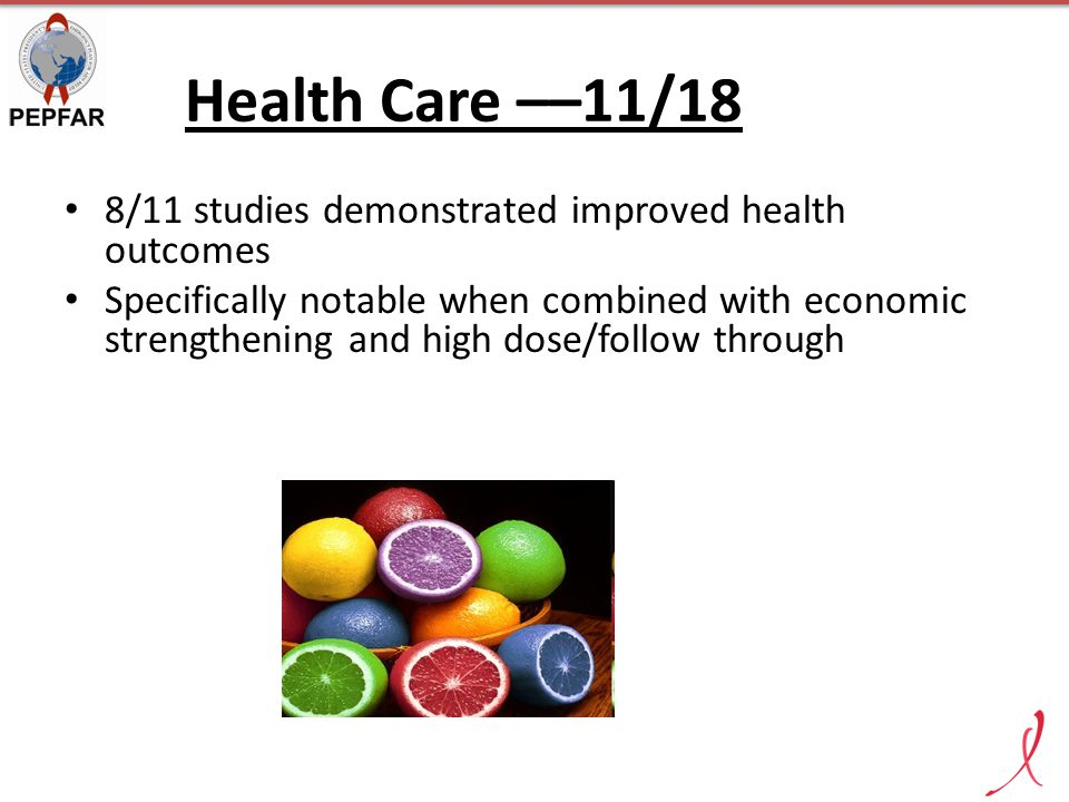Health Care ––11/18 8/11 studies demonstrated improved health outcomes Specifically notable when combined with economic strengthening and high dose/fo