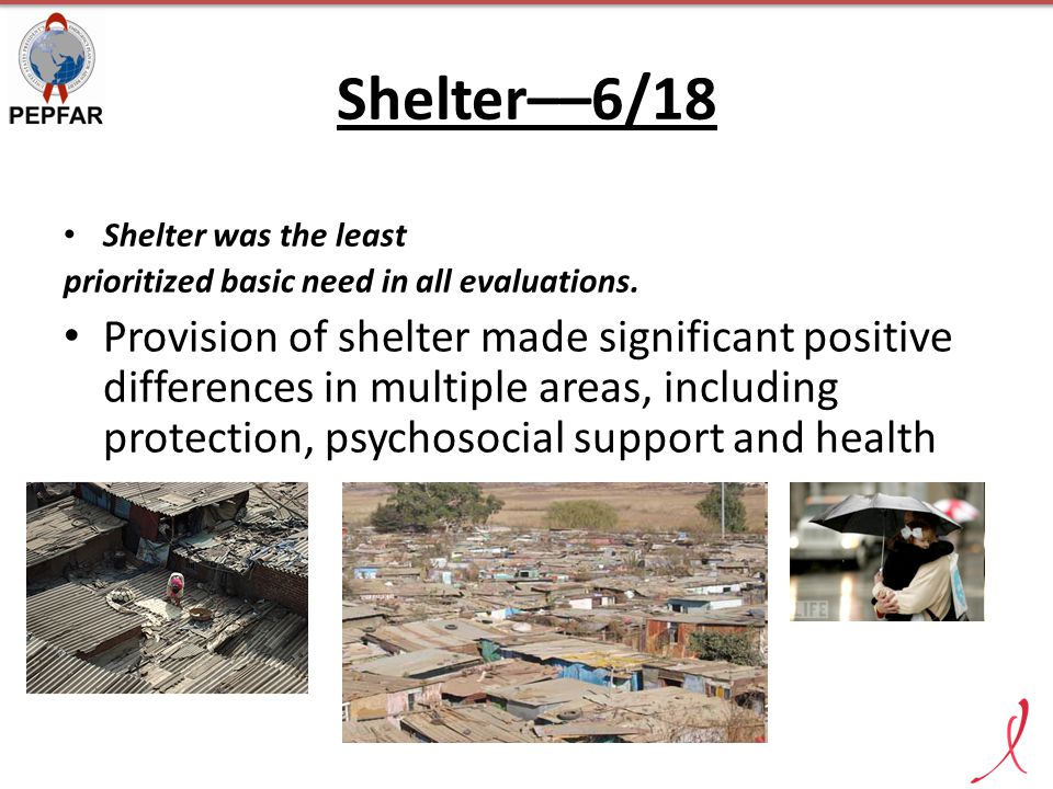 Shelter––6/18 Shelter was the least prioritized basic need in all evaluations. Provision of shelter made significant positive differences in multiple