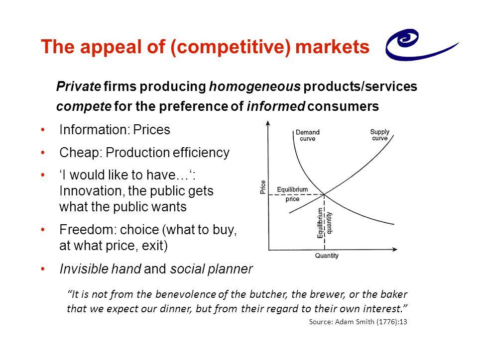 The appeal of (competitive) markets Information: Prices Cheap: Production efficiency 'I would like to have…': Innovation, the public gets what the public wants Freedom: choice (what to buy, at what price, exit) Invisible hand and social planner Private firms producing homogeneous products/services compete for the preference of informed consumers It is not from the benevolence of the butcher, the brewer, or the baker that we expect our dinner, but from their regard to their own interest. Source: Adam Smith (1776):13