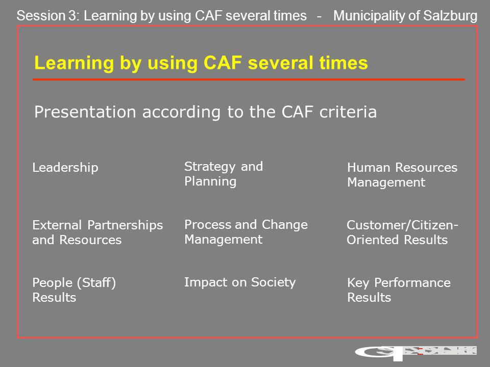 Learning by using CAF several times Presentation according to the CAF criteria Leadership Strategy and Planning Human Resources Management External Partnerships and Resources Process and Change Management Customer/Citizen- Oriented Results People (Staff) Results Impact on Society Key Performance Results