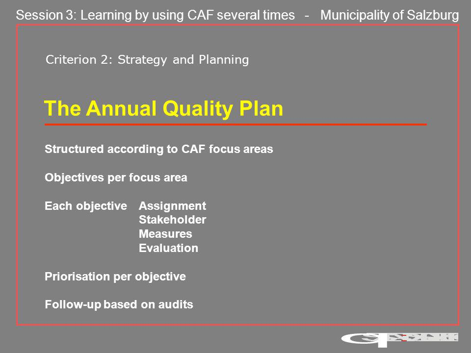 Session 3: Learning by using CAF several times - Municipality of Salzburg Criterion 9: Key Performance Results Have we achieved our goals.