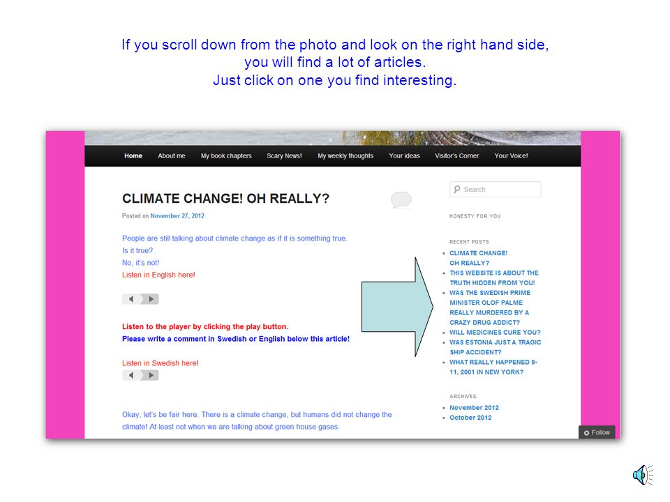 Here you can click on several pages with different articles.
