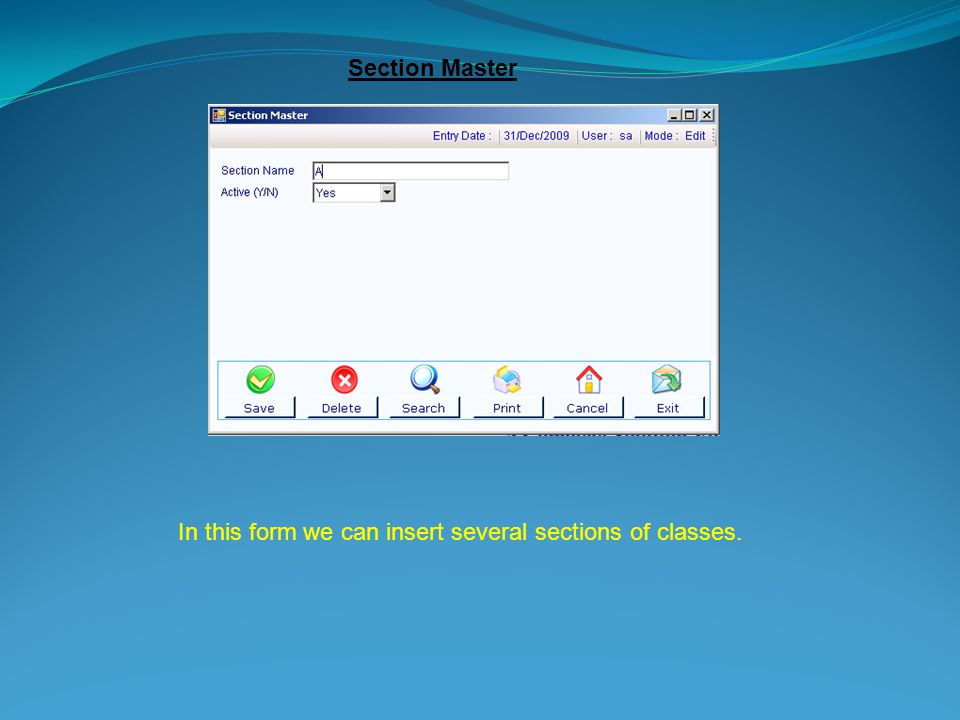Section Master In this form we can insert several sections of classes.