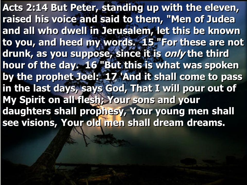 Acts 2:14 But Peter, standing up with the eleven, raised his voice and said to them,