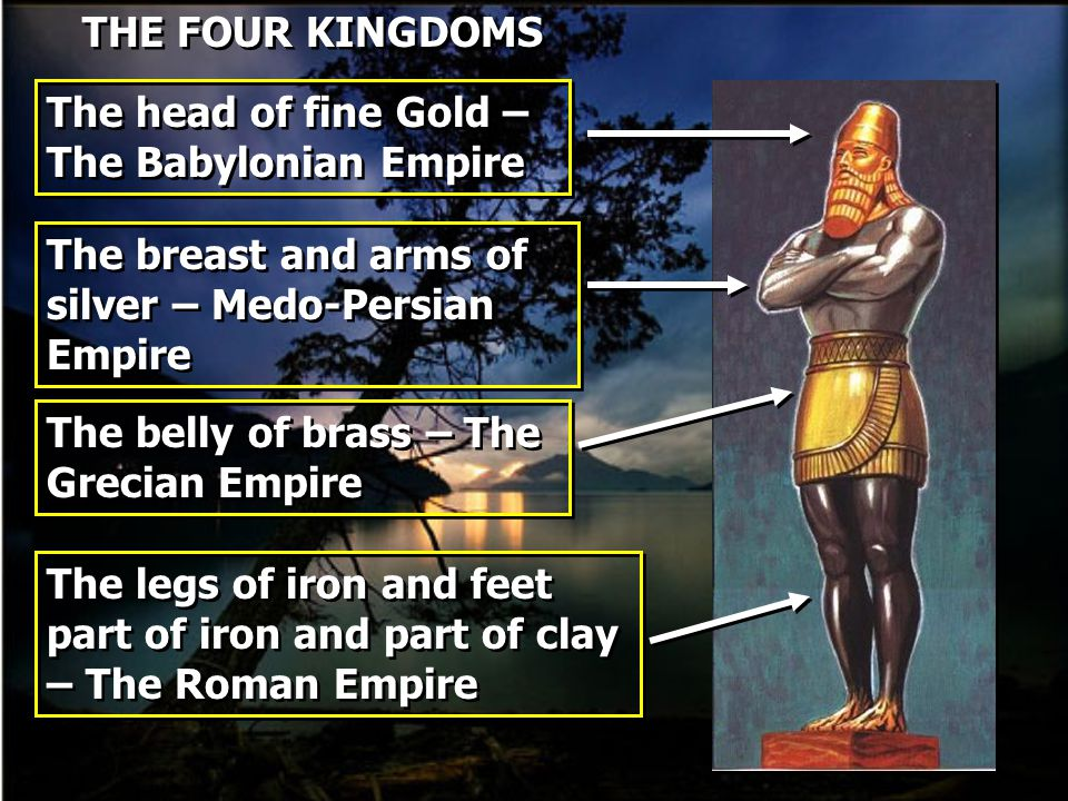 THE FOUR KINGDOMS The head of fine Gold – The Babylonian Empire The breast and arms of silver – Medo-Persian Empire The belly of brass – The Grecian E