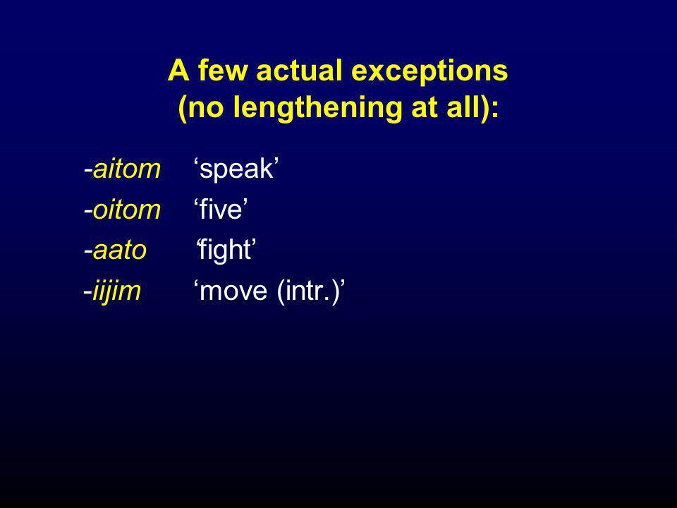 Cases where a prefix segment lengthens: a few stress-retracting verbs  co-h-a (prefix-prefix-root)  co-t-om (prefix-prefix-root)  ta-m-om (prefix+epen.V-prefix-root)  i-s-al (prefix-prefix-root)  hi-h-e (prefix-prefix-root)