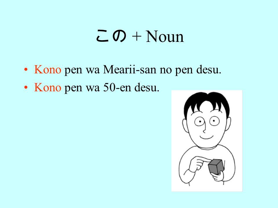 その + Noun Sono hon wa Robaato-san no hon desu. Sono hon wa 500-en desu.