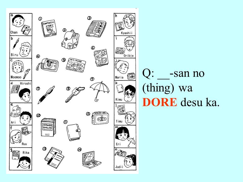 Q: __-san no (thing) wa DORE desu ka.