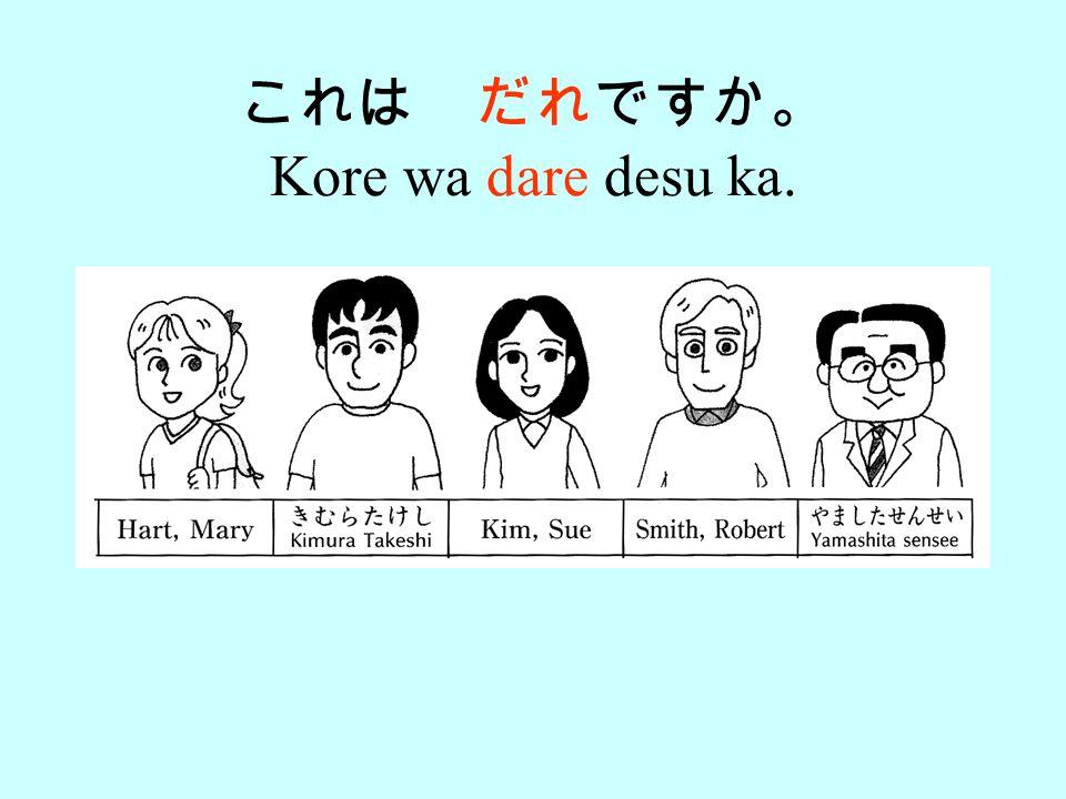 Q: Kore wa dare no (thing) desu ka. A: _____-san no (thing) desu. 123 4 5 6