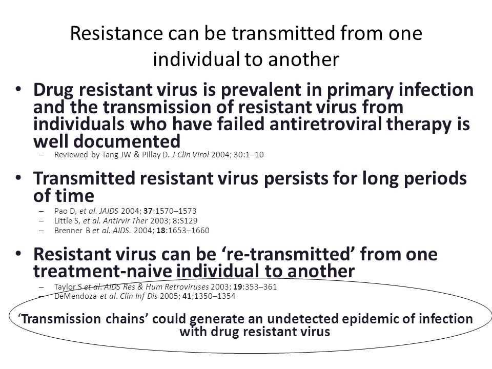 Resistance can be transmitted from one individual to another Drug resistant virus is prevalent in primary infection and the transmission of resistant virus from individuals who have failed antiretroviral therapy is well documented – Reviewed by Tang JW & Pillay D.