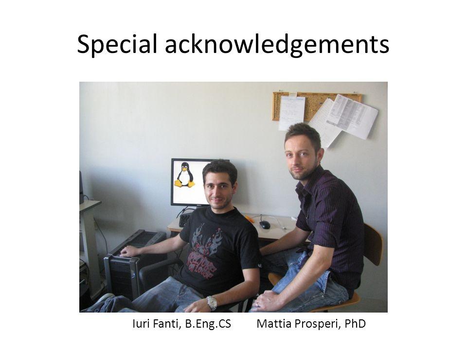 Special acknowledgements Iuri Fanti, B.Eng.CSMattia Prosperi, PhD