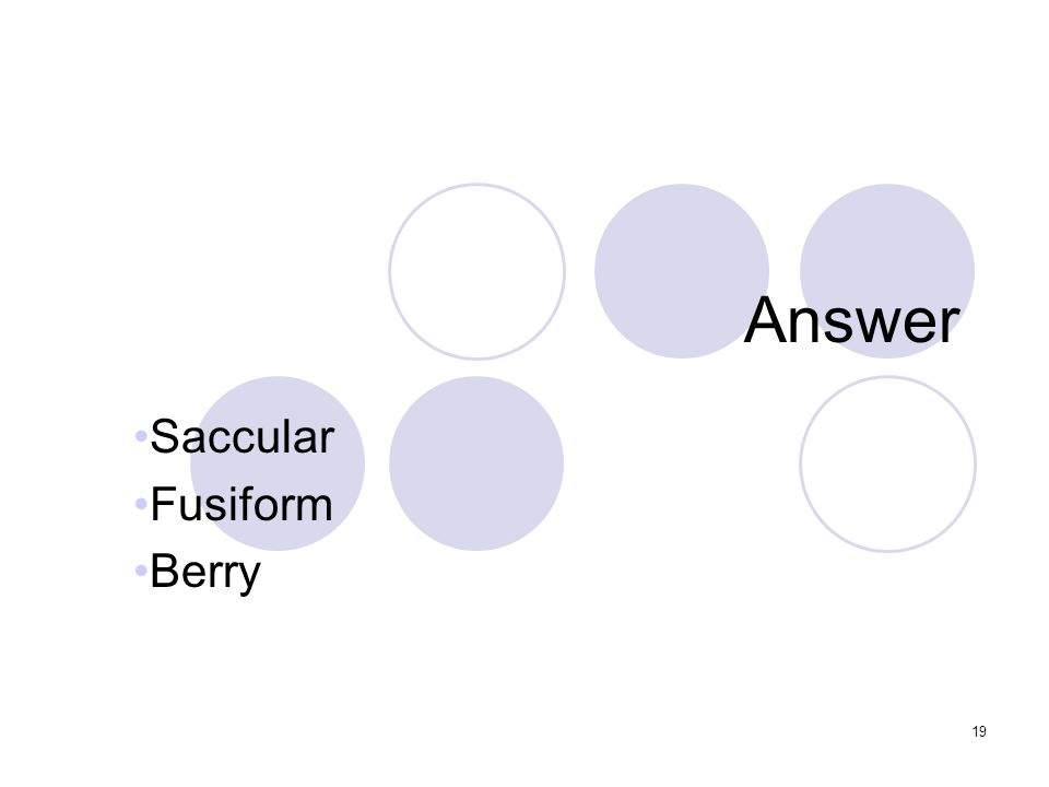 19 Answer Saccular Fusiform Berry