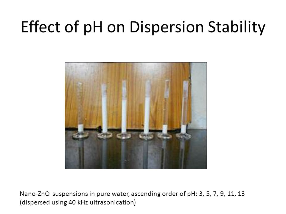 Effect of pH on Dispersion Stability Nano-ZnO suspensions in pure water, ascending order of pH: 3, 5, 7, 9, 11, 13 (dispersed using 40 kHz ultrasonication)