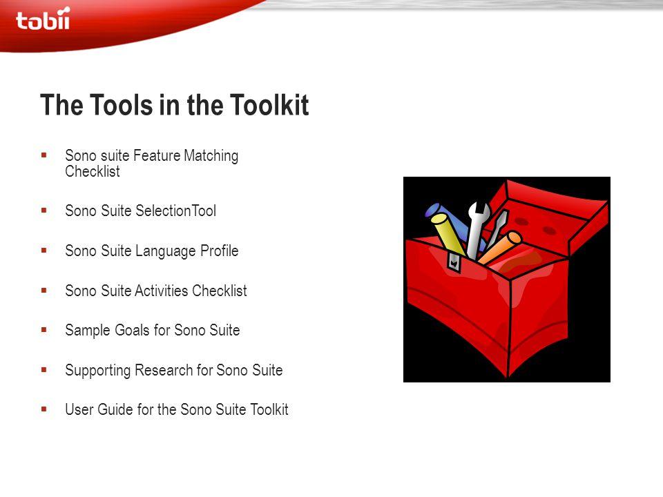  Sono suite Feature Matching Checklist  Sono Suite SelectionTool  Sono Suite Language Profile  Sono Suite Activities Checklist  Sample Goals for