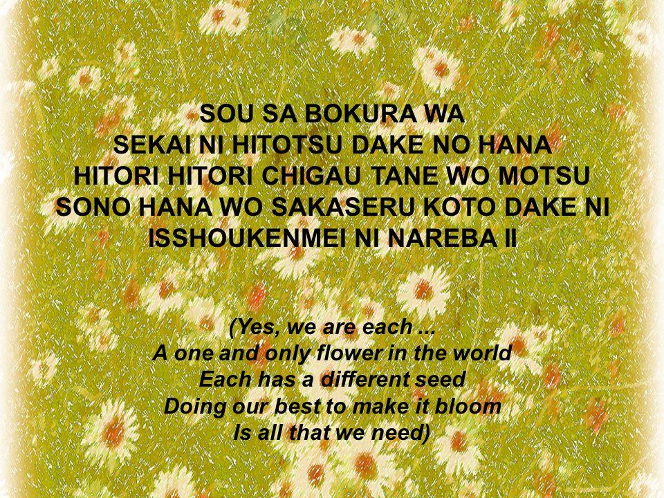 SOU SA BOKURA WA SEKAI NI HITOTSU DAKE NO HANA HITORI HITORI CHIGAU TANE WO MOTSU SONO HANA WO SAKASERU KOTO DAKE NI ISSHOUKENMEI NI NAREBA II (Yes, we are each...