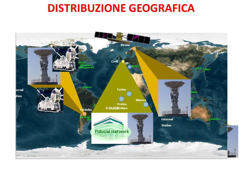 D-UGS C-UGS CGS GGS Kiruna Cordoba External Station External Station Fiducial Network Creil F-DUGS Fucino Matera Pratica di Mare D-MAPS C-MAPS DISTRIBUZIONE GEOGRAFICA
