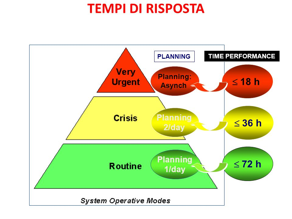Planning 1/day Planning 2/day Planning: Asynch PLANNING  18 h  36 h  72 h TIME PERFORMANCE TEMPI DI RISPOSTA