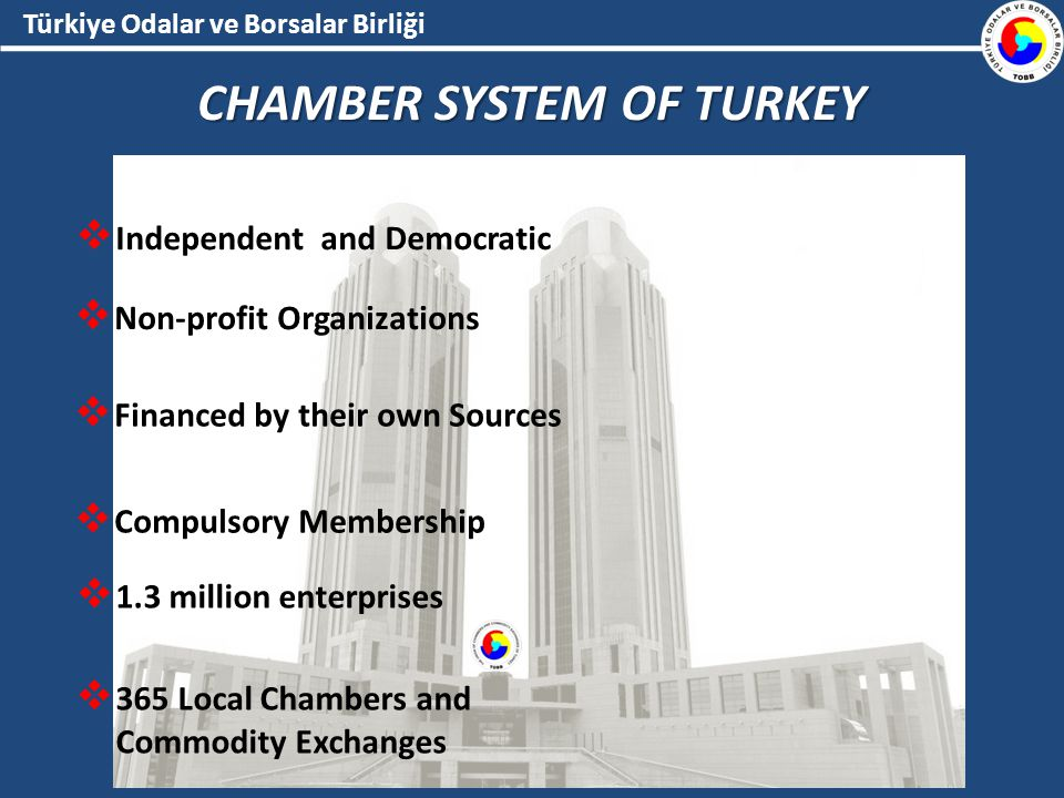 Independent and Democratic  Non-profit Organizations  Financed by their own Sources  Compulsory Membership  1.3 million enterprises  365 Local Chambers and Commodity Exchanges
