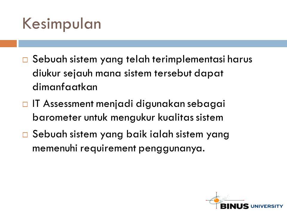 Kesimpulan  Sebuah sistem yang telah terimplementasi harus diukur sejauh mana sistem tersebut dapat dimanfaatkan  IT Assessment menjadi digunakan se