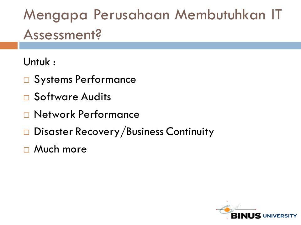 Mengapa Perusahaan Membutuhkan IT Assessment? Untuk :  Systems Performance  Software Audits  Network Performance  Disaster Recovery/Business Conti