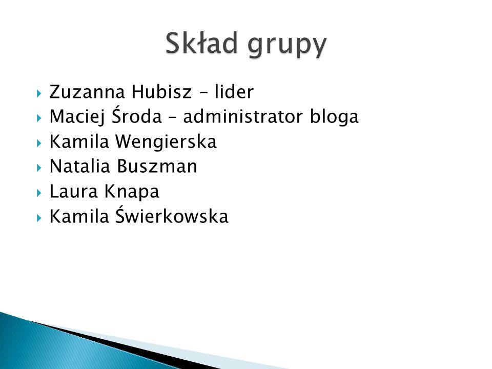  Zuzanna Hubisz – lider  Maciej Środa – administrator bloga  Kamila Wengierska  Natalia Buszman  Laura Knapa  Kamila Świerkowska